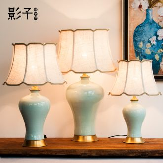 American desk lamp light ceramic light of bedroom the head of a bed luxury Chinese ancient kiln large sitting room is contracted vase decoration full copper lamp