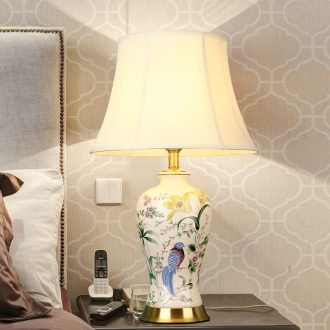 American whole copper ceramic desk lamp LED the study of bedroom the head of a bed is contracted sweet flowers and birds personality between example chandeliers