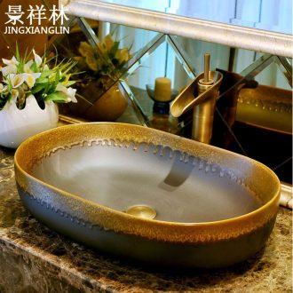 European ceramic stage basin of the oval art basin sink toilet lavatory basin household restoring ancient ways