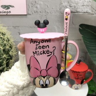 Mickey mark cup with cover spoon ins cartoon cute girl of glass Disney Mickey Mouse ceramic cup