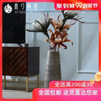 Hand made new Chinese vase furnishing articles sitting room zen black ceramic landing big character flower arranging flowers is restoring ancient ways