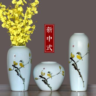 Jingdezhen ceramic vase sitting room porch flower arranging new Chinese style adornment furnishing articles three-piece porcelain arts and crafts