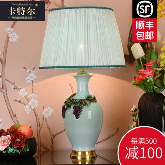 New Chinese style full copper colored enamel lamp study bedroom berth lamp retro creative sitting room decorate ceramic lamps and lanterns