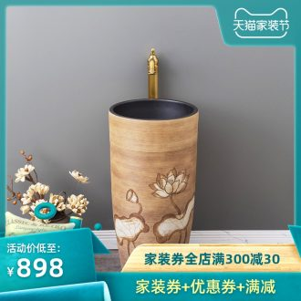 Chinese style restoring ancient ways ceramic one pillar type lavatory floor outdoor garden sinks balcony sink