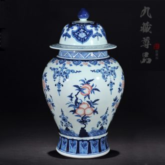 Blue and white porcelain of jingdezhen ceramics archaize youligong general jar with cover storage tank sitting room decoration crafts