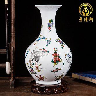 Jingdezhen ceramics colored enamel modern creative floret bottle of home sitting room handicraft wine ark adornment furnishing articles