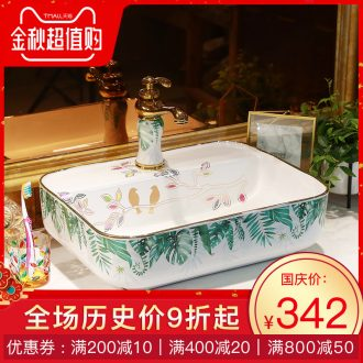 Basin of northern Europe on rectangular lavabo home wash basin green art ceramic lavatory basin basin of the balcony