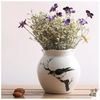 Art show contracted rural modern hand-painted ceramic vase suit jingdezhen porcelain desktop furnishing articles in the living room