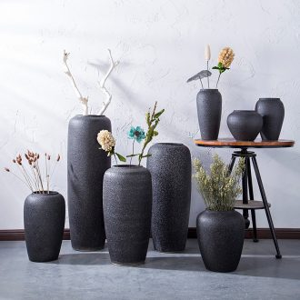 Jingdezhen ceramic black ground coarse pottery vases, contemporary and contracted sitting room of dried flowers flower arrangement furnishing articles manually basin of restoring ancient ways