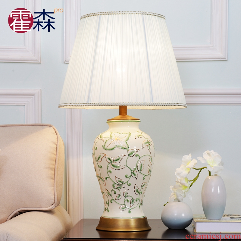 American contracted sitting room ceramic desk lamp decoration warmth bedroom berth lamp study example room villa contracted lamps and lanterns