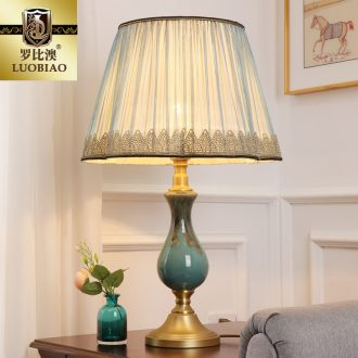 Europe type desk lamp bedroom nightstand lamp modern creative American sitting room is adjustable light sweet romance all copper ceramic lamp