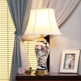 Chinese style full copper ceramic desk lamp warm home sitting room creative study villa example room bedroom nightstand lamp