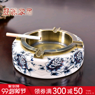 Murphy's light blue and white ceramic ashtray luxury furnishing articles of new Chinese style household living room office individuality creative ashtray