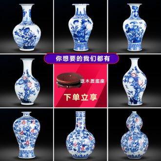 Jingdezhen ceramics by hand antique vase of blue and white porcelain vase household act the role ofing is tasted furnishing articles furnishing articles sitting room porch