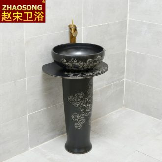 Ancient Chinese ceramics pillar lavabo balcony ground lavatory basin antifreeze sink black outside
