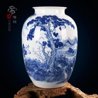 Celebrity famous master hand of jingdezhen blue and white porcelain vase landscape high-grade household ceramics crafts