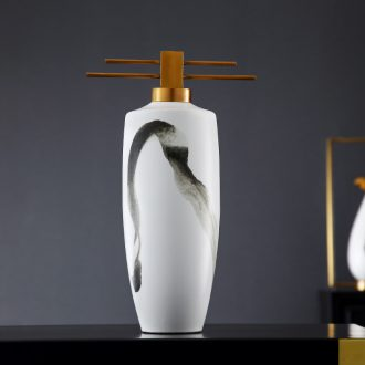Furnishing articles lamp is acted the role of form a complete set of new Chinese style ceramic vase cut decorative arts study zen Chinese wind landscape contracted