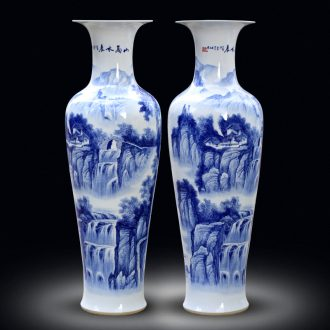 Jingdezhen ceramics of large vase furnishing articles large-sized hand-painted sitting room adornment hotel door of blue and white porcelain gifts