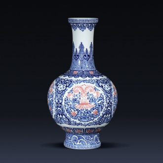 Jingdezhen porcelain qianlong hand-painted blue and white porcelain vases, flower arranging new Chinese style living room home furnishing articles