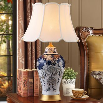 New Chinese style ceramic desk lamp bedside lamp sitting room bedroom restoring ancient ways of jingdezhen blue and white porcelain is zen American decoration full copper