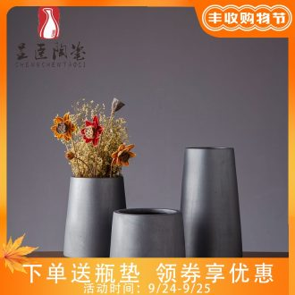Jingdezhen contracted ceramic vases, black flower arranging furnishing articles zen bedroom adornment of contemporary sitting room dry flower vase