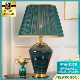 European-style bedroom nightstand lamp simple modern creative American warm warm light household light luxury ceramic lamps and lanterns