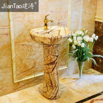 One pillar lavabo ou wash one toilet lavatory ceramic art basin to the balcony column