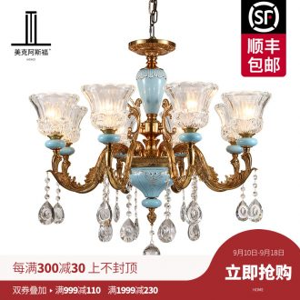 French pure copper chandelier sitting room lamps and lanterns of Europe type restoring ancient ways crystal droplight villa luxury restaurant bedroom ceramic lamp