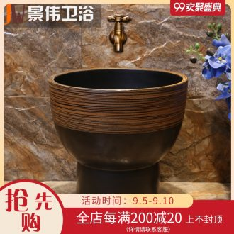 JingWei retro art antique ceramic mop pool towing basin large balcony wash mop pool bathroom home land