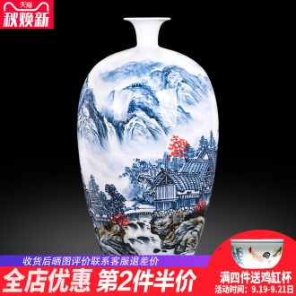 Jingdezhen ceramics landscape painting creative hand-painted blue and white porcelain vases, new Chinese style porch office furnishing articles