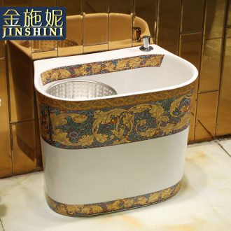 Gold cellnique double drive rotating mop pool ceramic art basin bathroom floor balcony vertical tank