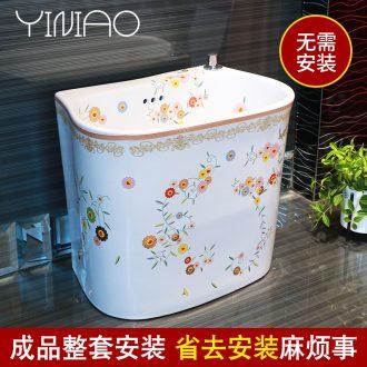 Million birds wash mop pool ceramic floor balcony to toilet basin mop pool household mop pool large sink