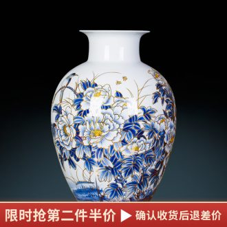 Famous master of jingdezhen ceramics hand-painted paint large blue and white porcelain vase peony Chinese sitting room adornment is placed
