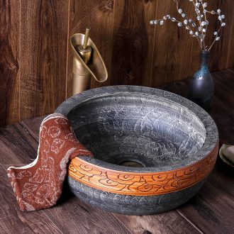 Jingdezhen ceramic lavabo is the pool that wash a face new round of Chinese style European archaize hotel bathroom art basin