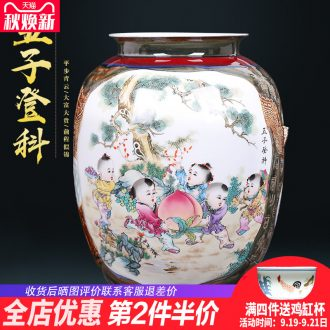 Chinese style manual creative kiln jingdezhen ceramics painting and calligraphy cylinder vase sitting room porch decoration furnishing articles