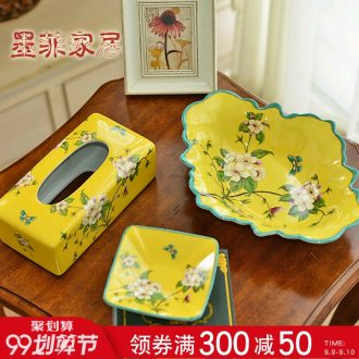 Murphy American country ceramic big compote Chinese snacks home sitting room tea table tissue box ashtray suits