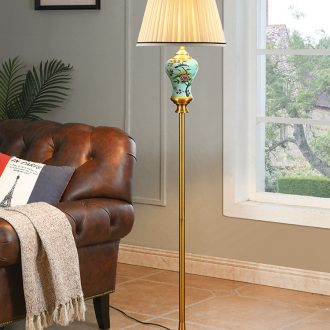 Hand-painted painting of flowers and American ceramic floor lamp sitting room is contracted and contemporary study light vertical desk lamp of bedroom the head of a bed to restore ancient ways