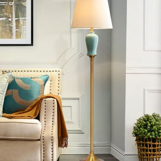 Contracted and contemporary American ceramic floor lamp light sitting room bedroom study luxury north Europe type vertical desk lamp of the head of a bed lamp