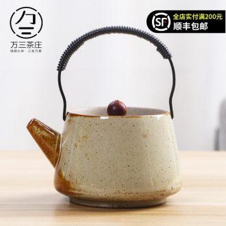 Three thousand coarse pottery teapot ceramic household single girder pot pot of tea village retro nostalgia Japanese kung fu suit the teapot