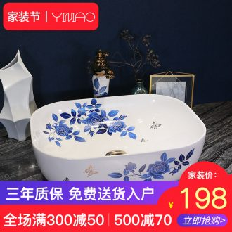 Simple fashion stage basin ceramic lavabo blue roses lavatory oval face basin bathroom art basin