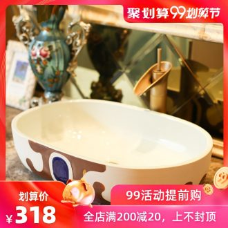 Jingdezhen rain spring basin art ceramics on the oval sink sitting lavatory toilet stage basin the balcony