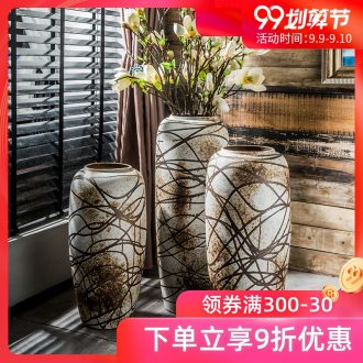 Vase furnishing articles flower arranging large sitting room ground coarse pottery high antique vase porcelain ceramic art ceramic porch restoring ancient ways