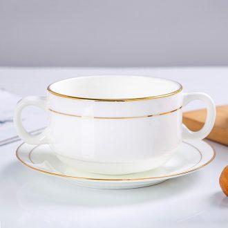 Jingdezhen porcelain Jin Bianshuang ear bone soup bowl western dessert double peel milk bowl of household ceramic borscht steamed egg bowl