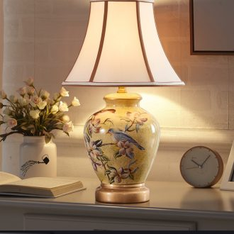 American country small desk lamp lamp of bedroom the head of a bed European creative ceramic contracted and contemporary sitting room warm wedding marriage room