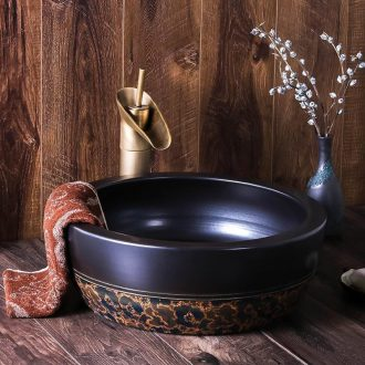 Face basin of jingdezhen ceramic hands plate round Chinese style restoring ancient ways is antique art hotel toilet stage basin
