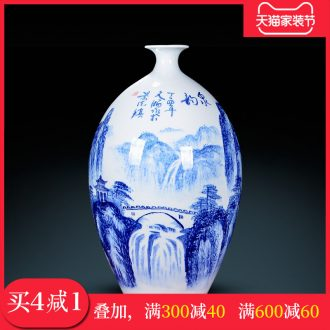 Jingdezhen ceramics furnishing articles ornaments desktop hand blue and white porcelain vases, famous master the sitting room porch decoration