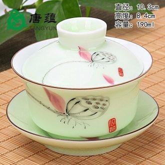 Tang aggregates tureen ceramic cups large single three white porcelain kung fu tea set of jingdezhen tea bowl violet arenaceous celadon