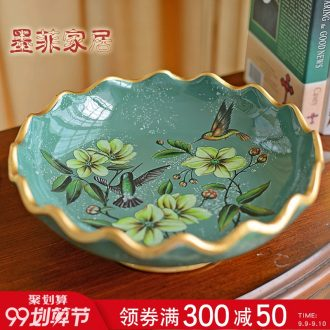 Murphy European rural retro ceramic large fruit bowl American snack plate dry fruit bowl sitting room tea table decoration