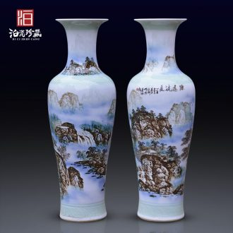 Jingdezhen ceramics hand-painted scenery of large vases, new Chinese style villa living room hotel opening decorative furnishing articles