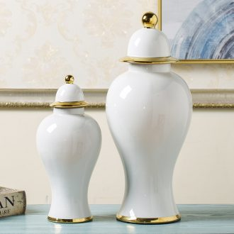 Jingdezhen general new Chinese style white pot vase postmodern light luxury furnishing articles sitting room porch soft adornment arranging flowers